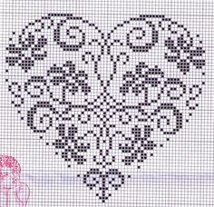 New crochet heart stitch punto croce Ideas Embroidery Hearts, Cross Stitch Embroidery, Embroidery Patterns, Hand Embroidery, Cross Stitch Designs, Cross Stitch Patterns, Cross Stitch Heart, Knitting Charts, Crochet Chart