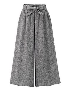 Women's+High+Rise+Inelastic+Wide+Leg+Pants,Street+chic+Loose+Wide+Leg+Bow+Solid+–+EUR+€+13.46