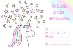 "Un anniversaire ""Licorne"" – DoubleBonheur Invitation Fete, Printable Invitations, Printables, Birthday Cards, Happy Birthday, Birthday Parties, Princess Theme, Little Girl Birthday, Pajama Party"