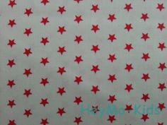 Toller Kinderstoff Baumwolle *rote Sterne beige k* von HeyMo Kids auf DaWanda.com
