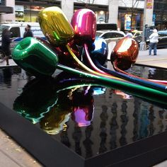 Jeff Koons Tulips Sculpture from his Celebrations series installed outside Christie's Rockefeller Plaza, prior to fetching $ 33.6 million, a world record auction price for any Jeff Koons Work of Art in the November 14, 2012, Post-War & Contemporary Art Auction