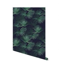 Palm Leaves Dark Green Wallpaper on roll - Creative Lab Amsterdam Leaves Wallpaper Iphone, Palm Leaf Wallpaper, Wallpaper Decor, Dark Green Wallpaper, Creative Labs, Design Your Home, Tropical Decor, Dark Backgrounds, Wallpapers