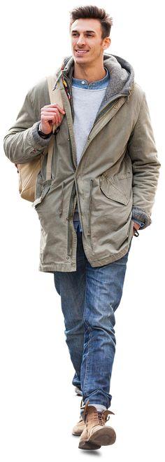 Cutout Man walking in Green Jacket #cutout #man #walking #visualization #architect #images #people