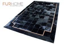 our all new black real hide rug with gold crocco line , we custom in any size http://www.furhome.gr