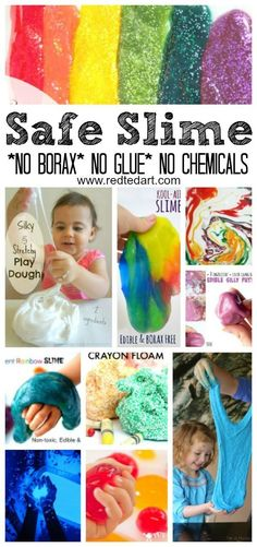 "No Borax Easy Slime Recipes - LOVE Slime? Have NO glue? NO Borax? NO Chemicals...??!! Check out these AMAZING play safe (and often ""taste"" safe) Slime Recipes for Kids. Explore, discover and have LOTS of sensory fun!!! The best sensory slime play activiti"