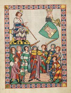Codex Manesse. Zürich, ca. 1300 bis ca. 1340. Universitätsbibliothek Heidelberg. / Frauenlob ist der Beiname für den Minnesänger und Spruchdichter Heinrich von Meißen. Er wurde vermutlich um 1250 in Meißen geboren und erhielt dort an der Domschule seine gelehrte Ausbildung und poetische Schulung.
