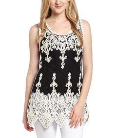 Love this White & Black Sheer Filigree Silk-Blend Top - Women on #zulily! #zulilyfinds