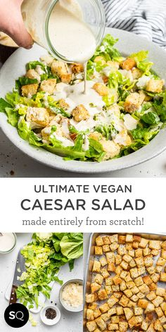 This is the best vegan caesar salad recipe with crisp romaine, homemade croutons, creamy dairy-free dressing and shaved vegan parmesan. Ultimate Vegan Caesar Salad Recipe | Made Entirely from Scratch! | Simply Quinoa Healthy Salad Recipes, Vegetarian Recipes, Dairy Free Salads, Homemade Croutons, Vegan Parmesan, Vegan Meal Plans, Caesar Salad, How To Make Salad, Pasta Dishes