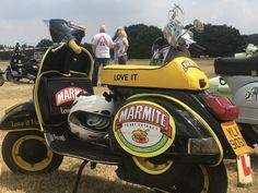 A Marmite-themed Vespa, just one of the gorgeous scooters at the Solent Cougars scooter rally Vespa Ape, Lambretta Scooter, Vespa Scooters, Alfa Romeo Cars, Bmw Series, Pedal Cars, Audi Tt, Transportation Design, Ford Gt