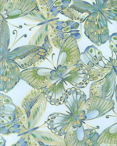 Shimmer - Jewel Box Butterflies - Powder Blue/Gold