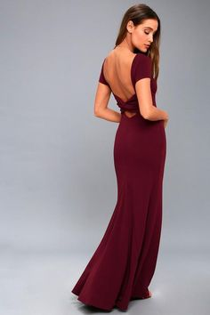 Turn heads in the Endless Love Burgundy Backless Maxi Dress! An on-trend knotted details accents the open back that transitions into a maxi skirt. Backless Maxi Dresses, Lace Maxi, Dresses For Big Bust, Formal Dresses, Short Gowns, Short Sleeve Dresses, Burgundy Maxi Dress, Lulu Fashion, Beautiful Red Dresses
