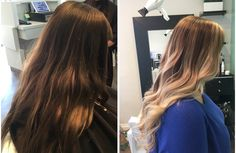 Before and after Hombre' highlight by Sara - The Bend Salon • Barber - Webster Groves, MO