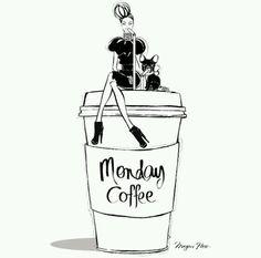 Monday Coffee by Megan Hess Megan Hess Illustration, Illustration Art Nouveau, Monday Coffee, Coffee Today, Morning Coffee, Coffee Girl, Coffee Love, Coffee Club, Poster Café