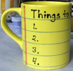 Writable to-do list mug (dry erase markers work on glazed pieces!)