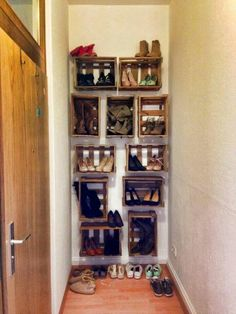 D.i .y. Home shoe racks. Made with crates