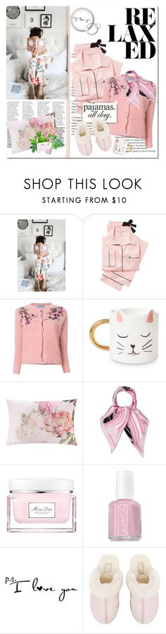 """Lazy Sunday"" by just-chris ❤ liked on Polyvore featuring Victoria's Secret, Prada, Ted Baker, Viktor & Rolf, Christian Dior, Essie, UGG and LovelyLoungewear"