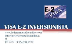 Si usted es una persona que: *Desea vivir en Estados Unidos con su familia *Tiene la posibilidad de invertir desde 70.000 (setenta mil dolares) en Estados Unidos en un negocio que usted va a dirigir y en el que va a trabajar La visa E-2 es ideal para usted.  La siguiente información le puede interesar para lograrlo