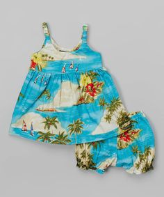 Turquoise Tropical Babydoll Dress & Bloomers - Infant & Toddler