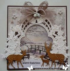 Christmas Lodge, White Christmas, Handmade Christmas, Christmas Crafts, Marianne Design Cards, Tattered Lace Cards, Scrapbooking, Winter Cards, Winter Theme