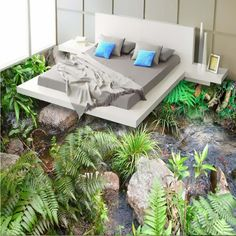 269.10$  Buy here - http://ali8ga.shopchina.info/go.php?t=32789332842 - Free Shipping Realistic nature scenery flooring painting wallpaper bathroom shopping mall wear floor mural  #aliexpress
