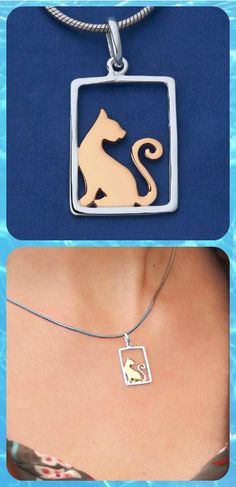 Sterling Silver Gold Plated Cat Necklace