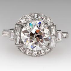 1930's Art Deco Engagement Ring 2.22Ct Old Euro Diamond H / VS1