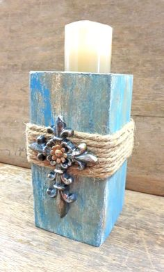 Crafts Cross Candle Holder with Blue Cross Rustic Candle Holders, Rustic Candles, Diy Candles, Beeswax Candles, Wood Block Crafts, Wooden Crafts, Wood Projects, Christmas Candles, Christmas Crafts