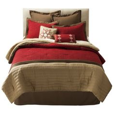 red tan and chocolate brown bedroom - for the master bedroom?