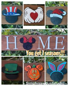 Minnie OR Mickey Mouse Interchangeable Seasons Hom Disney Sign, Disney Stuff, Disney Diy Crafts, 2x4 Crafts, Baby Name Tattoos, 7 Logo, Mickey Mouse Art, Tattoos For Kids, Handmade Decorations