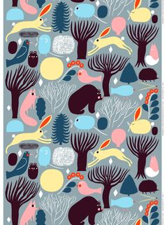 Huhuli fabric from Marimekko has a pattern of animals in the forest in nice colorways. This playful fabric looks just as good in the children's room as the living room. Combine with other fine interior details from marimekko.
