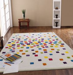 SMALL - LARGE THICK MODERN IVORY MULTI-COLOURED BRIGHT SPACEDUST DESIGNER RUG in Home, Furniture & DIY, Rugs & Carpets, Rugs | eBay