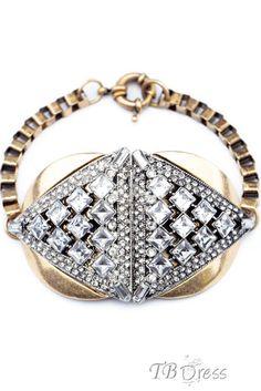 High Quality Retro Rhinestone Triangle Alloy Bracelet