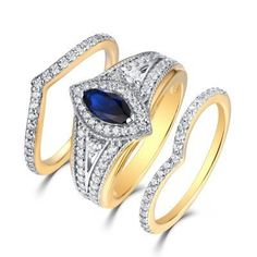 Marquise+Cut+Gold+S925+White+Sapphire+&+Sapphire+3+Piece+Halo+Ring+Sets