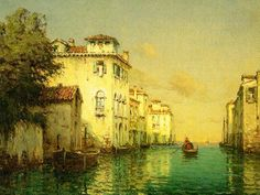 Antoine Bouvard, pseudonym Marc Aldine (1870-1956)-'Venetian Canal'-oil on canvas
