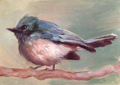 Blue Flycatcher  Original oil painting  5 x 7 inches por FinchArts