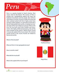 Hispanic Heritage Month Fourth Grade History Comprehension Worksheets: Peru Facts Elementary Spanish, Spanish Classroom, Teaching Spanish, Learn Spanish Online, How To Speak Spanish, Comprehension Worksheets, Writing Worksheets, Reading Comprehension, Learning Sight Words