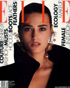 Yasmin Lebon x Elle October 1990 Yasmin Le Bon, Fashion Magazine Cover, Fashion Cover, Magazine Covers, Elle Spain, Couture Makeup, Original Supermodels, Elle Magazine, Magazine Rack