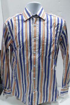 Bugatchi-Uomo-Long-Sleeve-Shirt-Shaped-Fit-Contrast-Cuffs-Size-Medium-M-Stripe