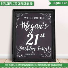 Welcome Birthday Sign Personalized 21st Chalkboard Poster Printable Welcom