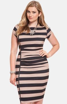 b3d25c69f ELOQUII Zip Detail Stripe Dress (Plus Size) available at  Nordstrom Curvy  Girl Fashion