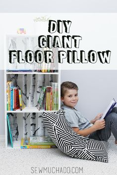 """""""Sew a giant floor pillow with this easy tutorial! Every kid (old and young!) loves to cuddle up with a good book in a cozy spot, and this pillow can make any spot cozy! Features a zipper to allow cover to be removed and washed, this pillow will be a"""