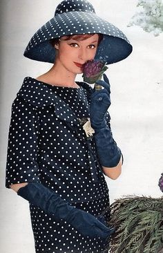 Dior 1959 - Navy blue & white polka dot suit with matching broad brim hat.