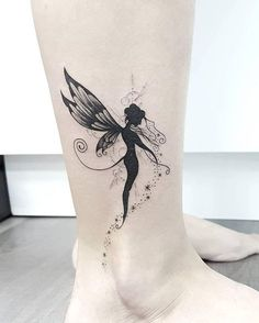 Dark and Deep Fairy Design Ankle Foot Tattoo Ideas