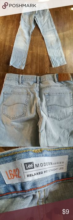 Lee jeans Men's Lee modern series relaxed fit straight leg white wash jeans. Great condition! The tag is faded so I can tell what size for sure, but they fit my husband who is a size 34x34. Good pair of jeans! Lee Jeans