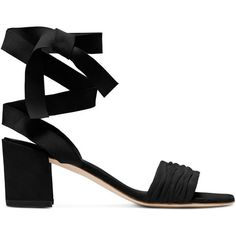 StuartWeitzman SWIFTY ($450) ❤ liked on Polyvore featuring shoes, sandals, heels, black, black heeled shoes, black sandals, kohl shoes, black shoes and heeled sandals