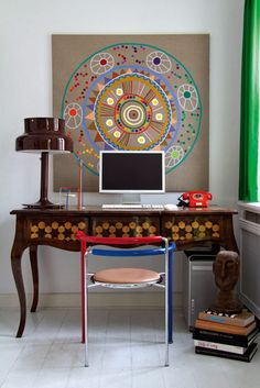 Stunning colors and textures and mix of antique furniture with contemporary pieces.