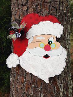 Santa Door Hanger, Christmas Door Hanger, Christmas Door Decor, Whimsical Door…