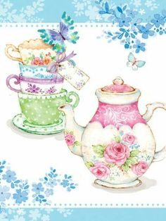 Leading Illustration & Publishing Agency based in London, New York & Marbella. Tea Cup Art, My Cup Of Tea, Tea Cups, Tee Kunst, Diy And Crafts, Paper Crafts, Teapots And Cups, Decoupage Paper, Vintage Tea