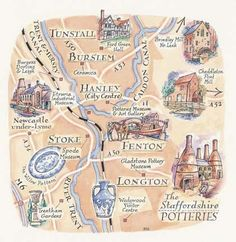 Map of The Potteries, Staffordshire by David Hobbs  (See board of Sara Drake)