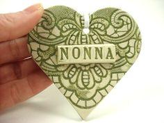 Nonna Heart Ornament Nonna Christmas Ornament by MagicMoonPottery